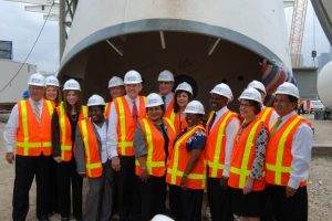 Safety first: The mayor and City Council in hard hats.