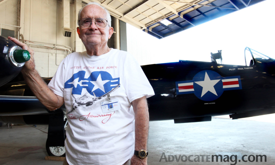 Jim Walston retired from Vaught Aircraft Industries in 1988. Now he restores old planes. Photo by Benjamin Hager