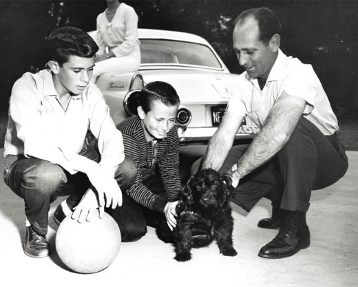 Konrad and his sons, Bill and Bobby, with dog Susie