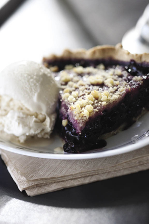 "Spiral Diner's vegan blueberry pie and ""I-scream."""