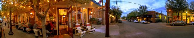 This stitched panorama shows a typical springtime night in the Bishop Arts District. Photo by Danny Fulgencio