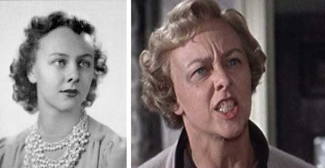 "Latham in the 1940 Sundial, the Sunset High School yearbook; Louise Latham in Alfred Hitchcock's ""Marnie"""