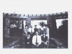 Oak Cliff residents pose before the pergola at Kiest Park in the 1940s.