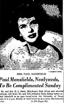 Before she bleached. Mrs. Paul Mansfield, 1950