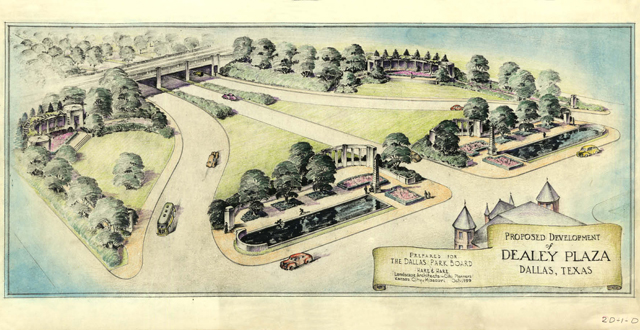 """A rendering of Dealey Plaza by the Kansas City firm of Hare and Hare, 1940; the triple underpass was finished in 1936 but the park still needed to be landscaped. The plaza itself was a Works Progress Administration project and cost $92,298. This image is included in """"Dealey Plaza,"""" by John H. Slate and Willis C. Winters: Dallas Municipal Archives"""