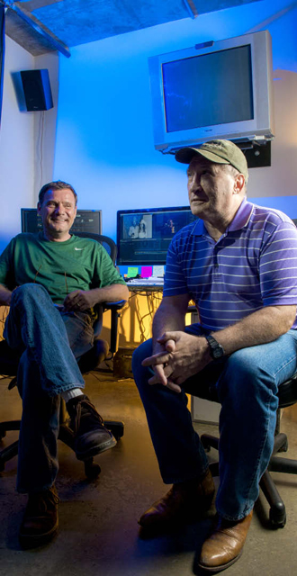 Kirby Warnock's new film premieres this month. Dan Whiteman, left, is polishing the film. Photo by Danny Fulgencio