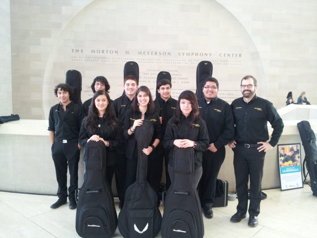 La Rondalla's advanced guitar ensemble with instructor Kenny Withrow at the Meyerson Sympohny Center earlier this month
