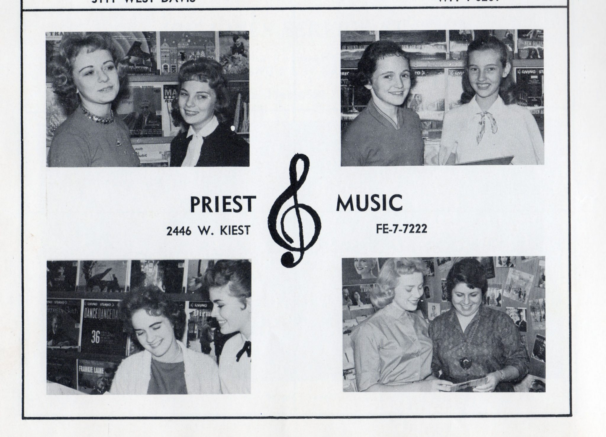 "Priest Music Store (later Music Hall) as depicted in the 1960 edition of the Kimball High School yearbook, ""Excalibur"""