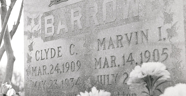"""A photo from 1972 shows Clyde Barrow's grave before the marker was made """"horizontal."""" : David Fisk"""