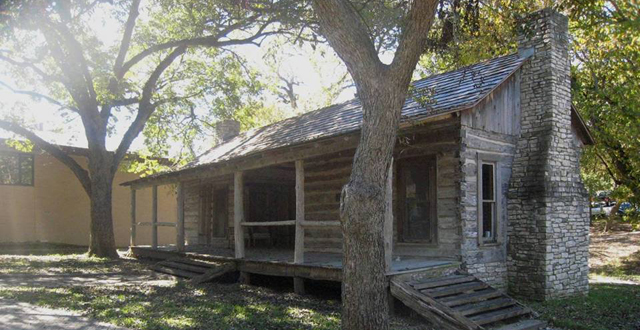 In the mid-1800s, Samuel Sloan settled what later became known as the town of Lisbon, along Five Mile Creek in South Oak Cliff. The original log house, now relocated to the Cedar Hill campus of Northwood University, served as the center of the this early community. Courtesy photo: Northwood University.