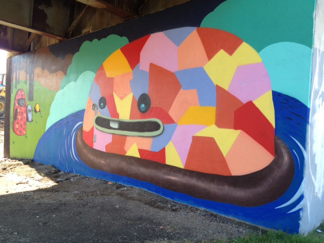 City-commissioned mural on the Jefferson Viaduct