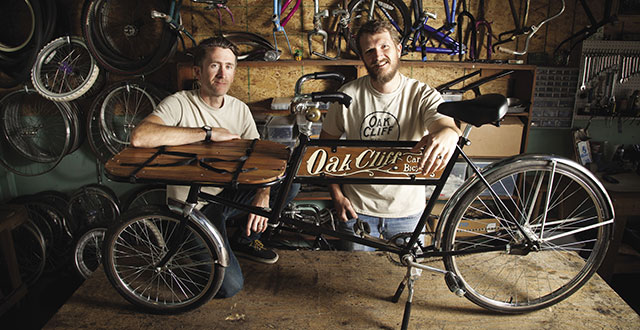 Brennen Bechtol and Jonathan Braddick with the Stevie, a cargo bike that's perfect for deliveries: Photo by Kim Leeson