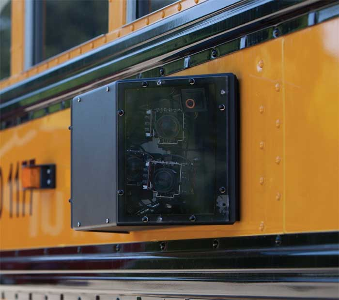 Cameras mounted on the sides, front and rear of each Dallas County School bus monitor traffic and activity around the bus.