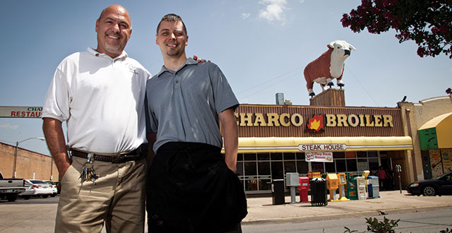 Nick Cordova, left, and his son Brock Cordova, right, are the third and fourth generation of their family to run Charco Broiler on Jefferson.