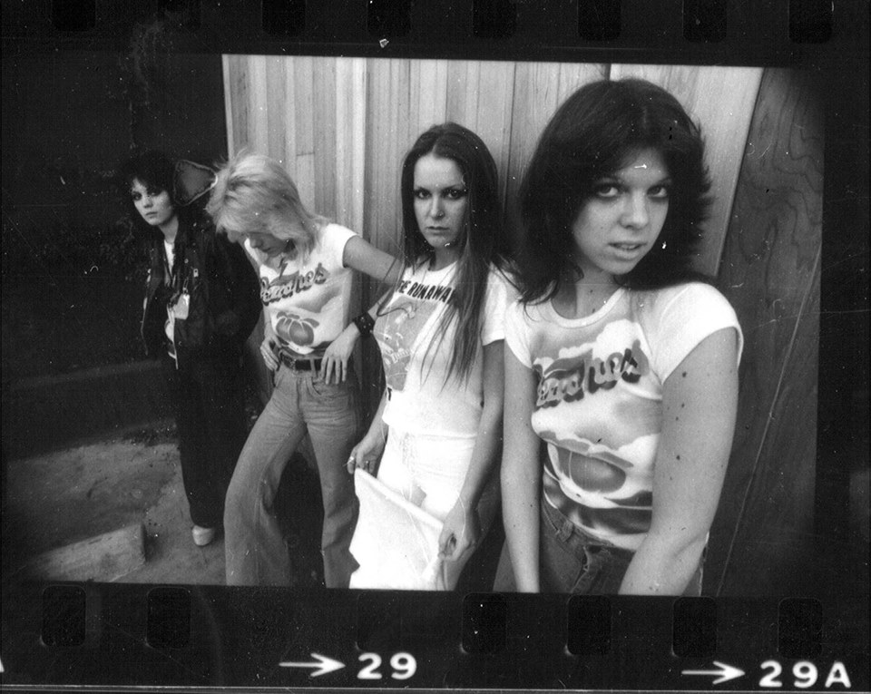 The Runaways at Peaches Records and Tapes in Dallas. Photo courtesy of Kirby Warnock, via Buddy magazine