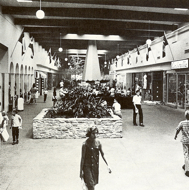 This 1966 image shows the bustling interior of Westcliff, Oak Cliff's first indoor mall. Photo courtesy of Bill Melton