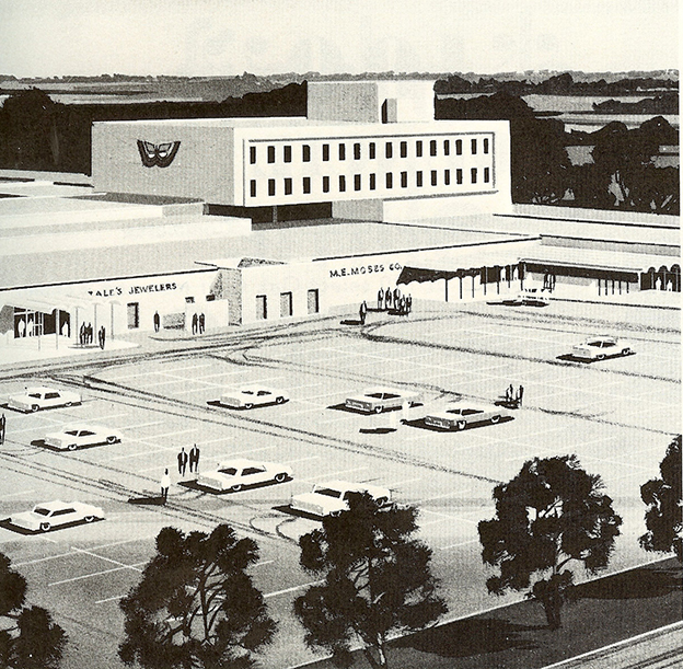 A rendering of the mall's exterior, featuring the memorable butterfly image. Photo courtesy of Bill Melton