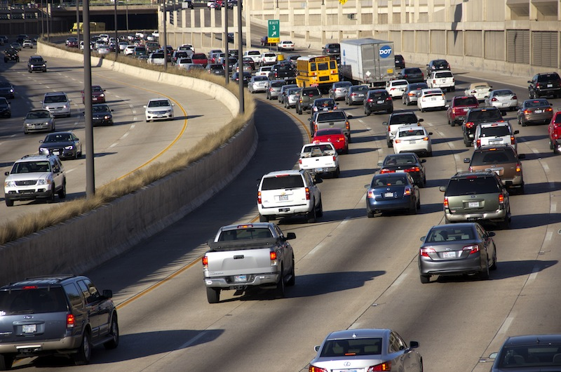 Traffic at the beginning of rush hour on Highway 75 in Dallas, TX.