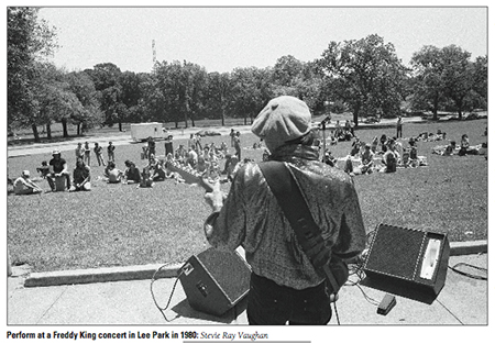 "A still from the documentary ""When Dallas Rocked,"" via Budddy magazine. That time SRV played at Lee Park, and you weren't there."