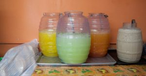 A selection of aquas frescas is made fresh daily: Photo by Rasy Ran