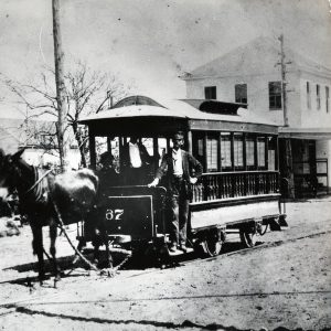 An example of a mule-drawn streetcar from the 1870s
