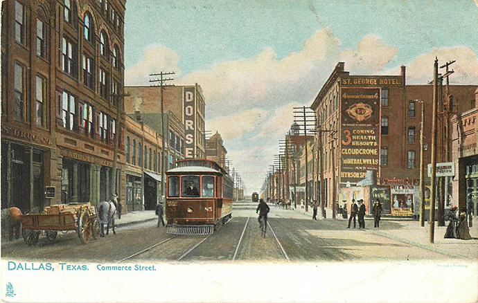 Commerce Street, 1905, facing west from Griffin. There now is a McDonald's where the Dorsey Hotel was.