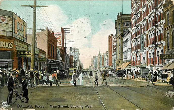 Raphael Tuck & Sons printed at least 31 postcards with images of Dallas. Main Street, 1908, looking west.