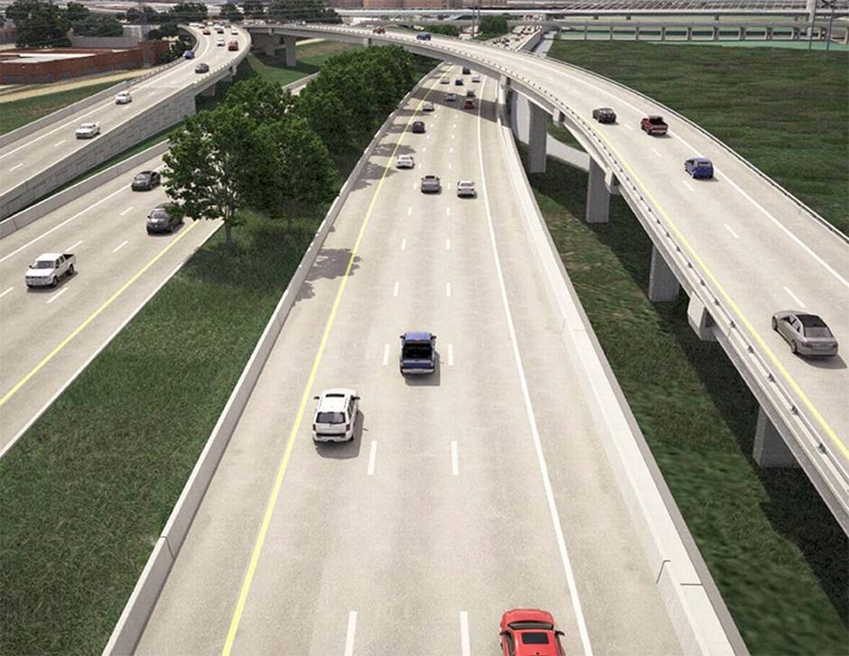 This is a version of what a portion of the Trinity Tollroad could look like if the road is completely built out to six lanes.