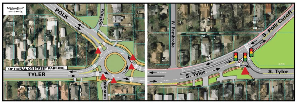 The city proposes creating two-way streets by adding a roundabout on Tyler and Polk at Winston. A stoplight would join the streets at South Tyler.