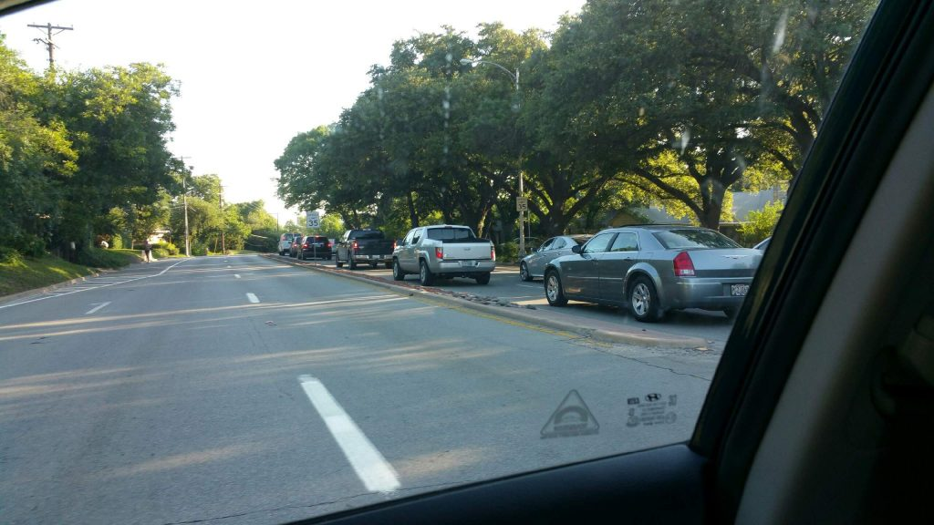 Traffic backs up on Sylvan Avenue during the morning commute. Photo courtesy of Sandy Bates Emmons
