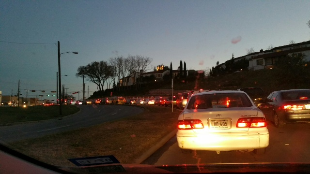 A line of rush hour traffic near the Belmont Hotel at dusk: Photo courtesy of Sandy Bates Emmons
