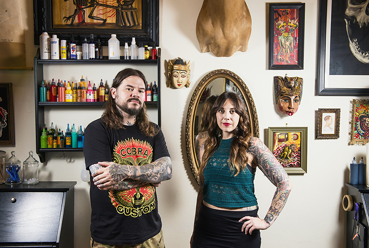 Tattoo artists Caleb Barnard and Marie Sena opened Electric Eye tattoo studio in a tiny space at the rear of Jefferson Tower earlier this summer: Photo by Danny Fulgenico