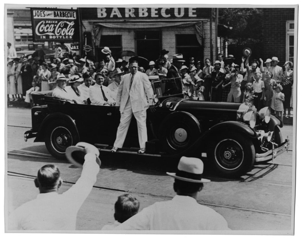 Dallas Mayor George Sergeant rides in the front passenger seat of the President's car. Behind him are FDR and First Lady Eleanor Roosevelt. Photo courtesy of Jim Lake Jr.