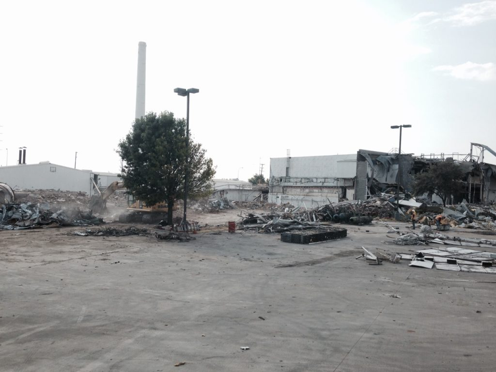 The Oak Farms Dairy site, under demolition in August 2015