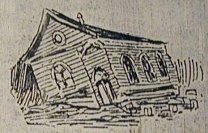 An artist's rendering of the Oak Cliff Christian Church on 9th and Beckley after a storm.