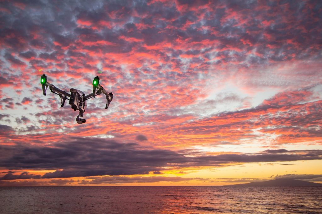 Aerial drone over water (stock photo by Shane Perry)
