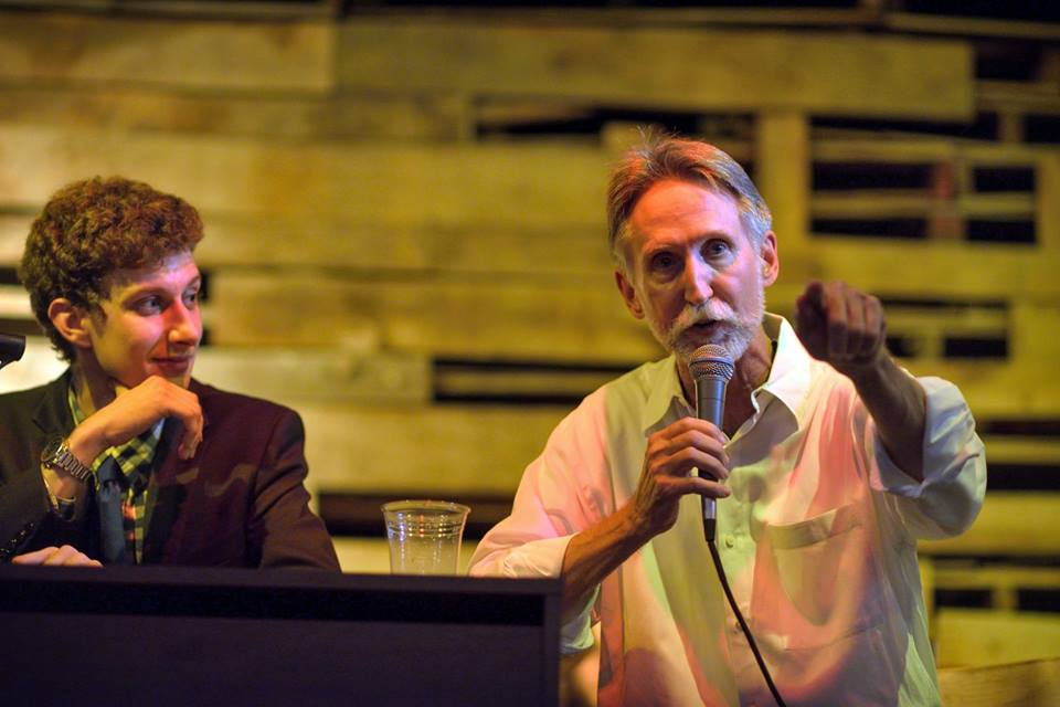 David Marquis speaks at Bar Politics with Josh Kumler at the Foundry this past summer. Marquis, a lifelong activist and artist, celebrates his 65th birthday at the Kessler Monday. Photo by Scott Wayne McDaniel
