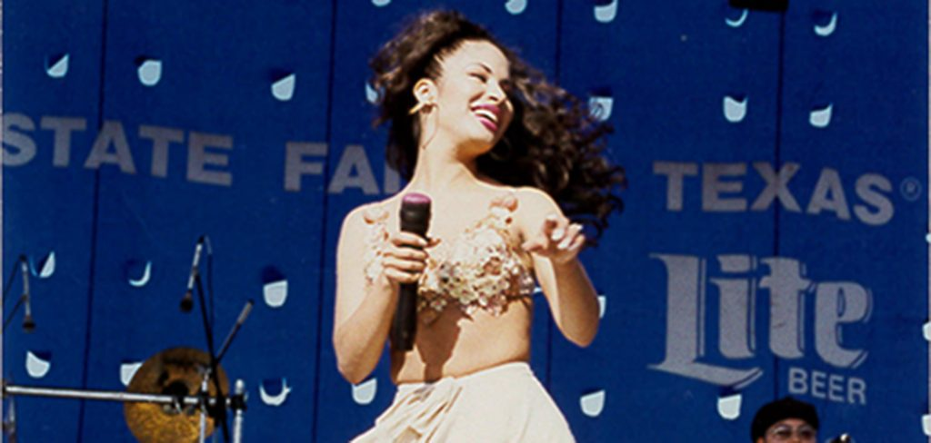 """Selena performs at the State Fair of Texas in 1994. After her death, that photo, by Gilbert Cortez, appeared on the cover of """"Tejano Connection."""" (Photo courtesy of Rosemary Cortez)"""