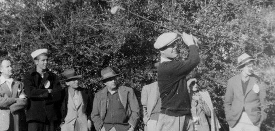 Byron Nelson smashes one for spectators in the 1940s. (Photos courtesy of the AT&T Byron Nelson)