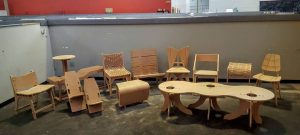 Plywood furniture printed on a digital laser cutter and pieced together. Photo courtesy of Jason Roberts