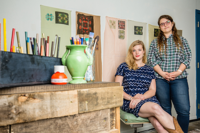 Local residential artists Emily Riggert and Rachel Rushing recently founded Sunset Art Studios situated in the Elmwood district. The pair wanted to open the gallery/studio among a more intimate backdrop in Oak Cliff. (Photo by Rasy Ran)