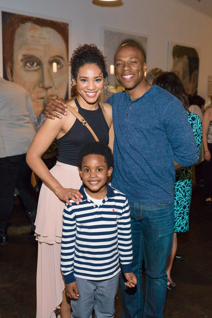 """7-year-old James Hayes at the """"Ragtime"""" cast party with Leslie Jackson and Chris Sams, who in the show play his parents, Coalhouse Walker Jr. and Sarah."""