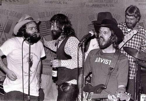 From left to right: B.W. Stevenson, Ray Wylie Hubbard, Rusty Weir and Steven Fromholz. (Photo courtesy of Judy Hubbard)