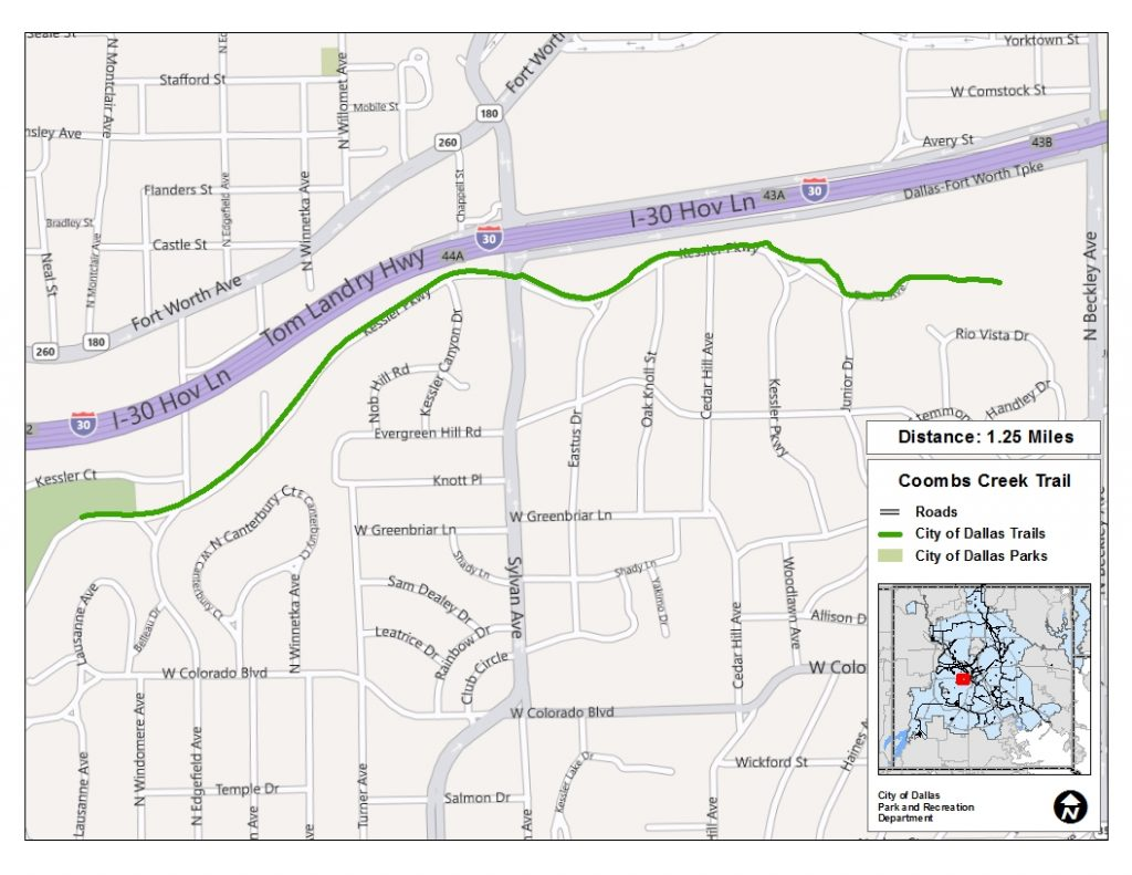Click to see a larger Coombs Creek Trail map at happytrailsdallas.com/trail-maps (Map courtesy of the City of Dallas)