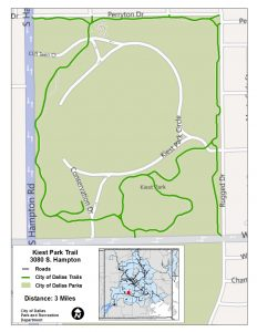 Click to see a larger Kiest Park Trail map at happytrailsdallas.com/trail-maps (Map courtesy of the City of Dallas)