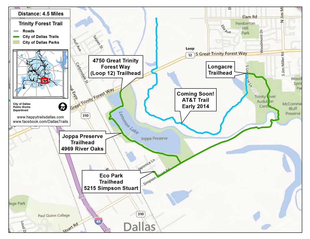 Click to see a larger Trinity Forest Trail map at happytrailsdallas.com/trail-maps (Map courtesy of the City of Dallas)