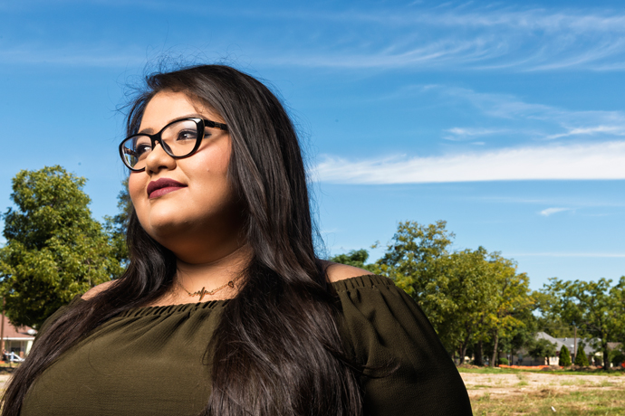 Blanca Castillo poses for a portrait near the site of what was once her home in Dallas, TX on Sept. 29, 2016. The apartments were razed for a high-end mixed use development project. Castillo, an undocumented immigrant, works as a nurse. She said she may not leave the country else she be denied reentry. Credit: Danny Fulgencio