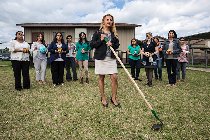 Staff at John H. Reagan Elementary are gearing up for their REAL School garden slated for a Nov. 3 groundbreaking. About a third of the teachers at the school are graduates from DISD, and also those who have grown up in Oak Cliff, reinforcing the homegrown theme. (Photo by Rasy Ran)