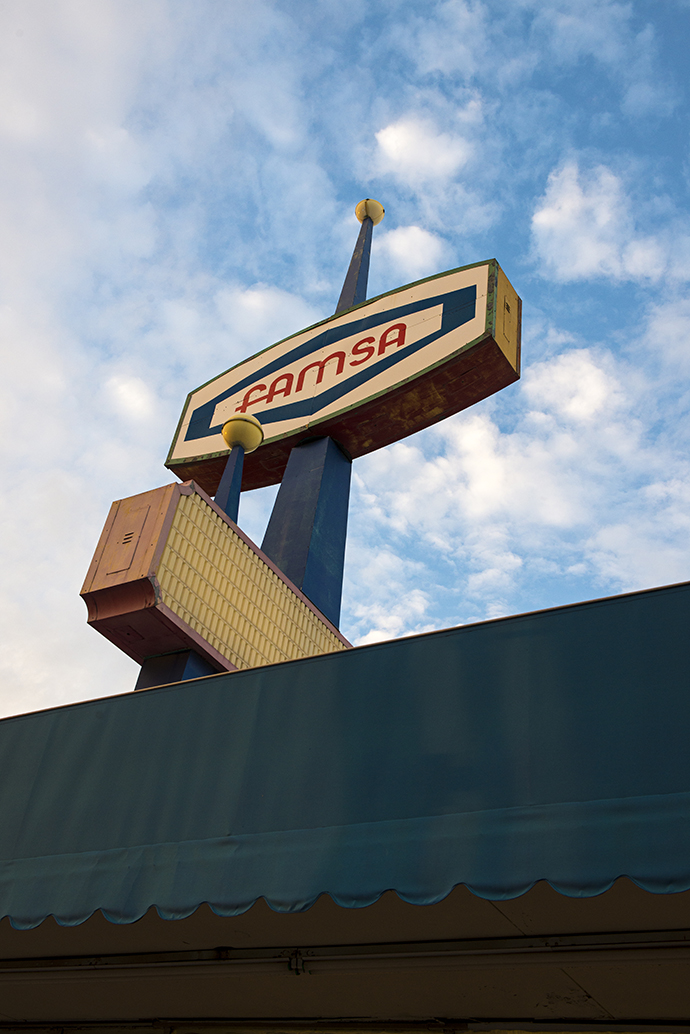 The Famsa sign, originally erected for J.C. Penney, is a great example of Googie-style architecture and ought to be protected, preservationists say. (Photo by Danny Fulgencio)