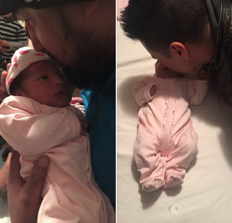 Baby Sophia reunited with her dad. Images via KWCH